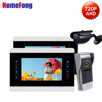 Homefong AHD 720P Video DoorPhone Doorbell Two Monitors IR Night Vision Outdoor Call Panel 1 CCTV Security Camera Motion Record