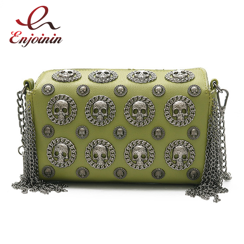 Punk cráneo insignia de la moda borla ladies day embragues bolso de crossbody mi