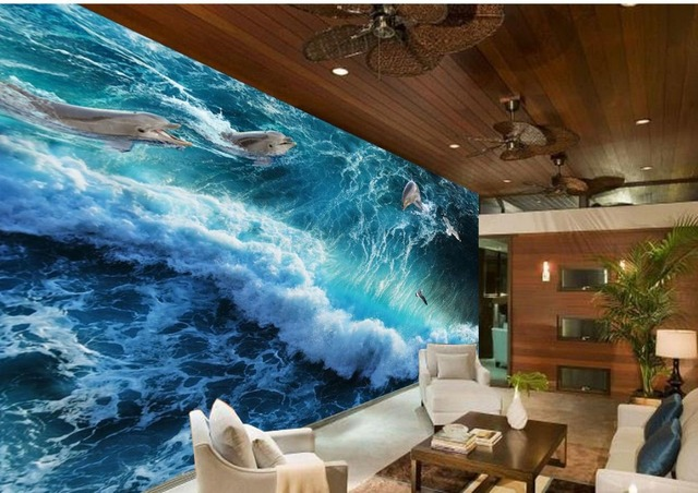 3d Name Wallpapers Beautiful Ocean Waves Dolphins Classic Wallpaper For Walls Custom Photo