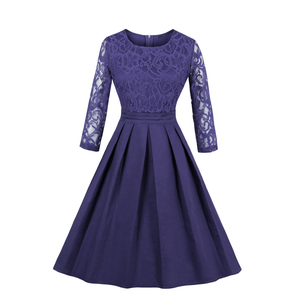 Olddnew New Autumn Dress Women s Vintage Dress Floral Long Sleeve Lace Dress O Neck Cocktail