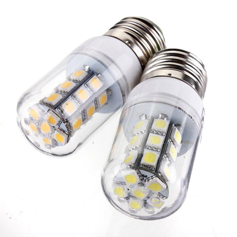 LED Corn Bulb Lamp E27 3W 27 LED 5050 SMD Energy Saving Corn Light Pure Warm White Lamp Spotlight Bulb Pendant Lighting 15 w e27 cool white 15leds 1w highpower led energy saving cfl bulb lamp spotlight 220v 240v