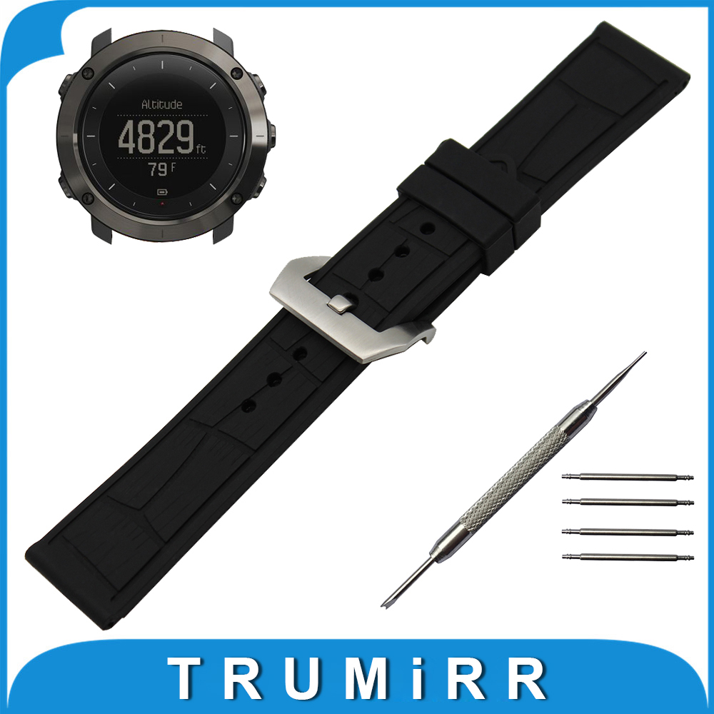 24mm Silicone Rubber Watch Band for Suunto TRAVERSE Watchband Stainless Steel Pre-v Buckle Strap Link Wrist Belt Bracelet Black
