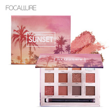 FOCALLURE Eyeshadow Kosmetik Tahan Air Dengan Kuas dan Cermin Panjang Eye Makeup Musim Panas Eye Shadow