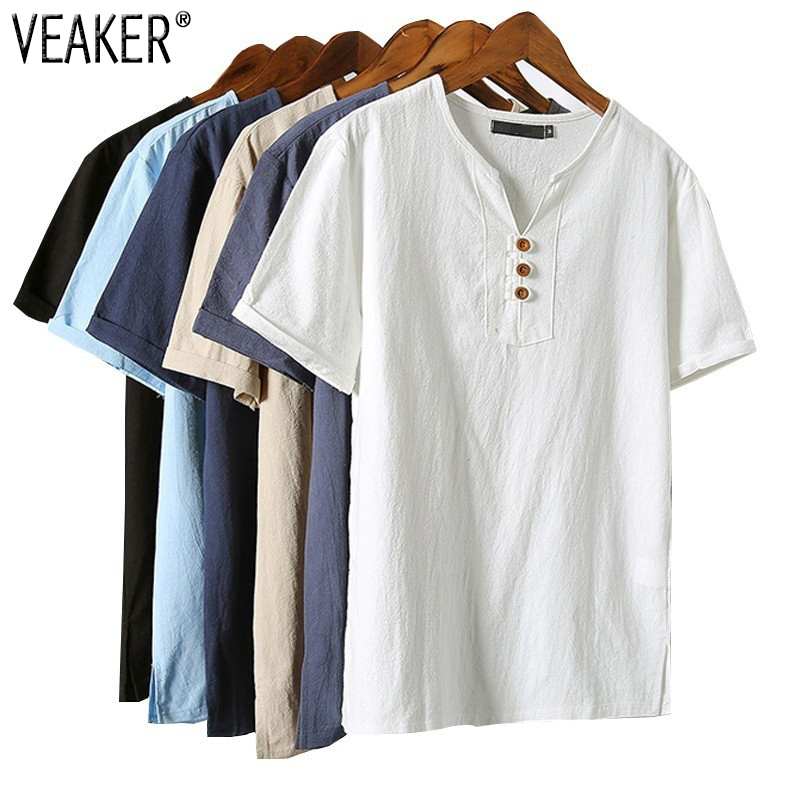 2018 New Mens Summer Breathable Linen   T     shirts   Male Vintage short sleeve   T  -  shirt   Linen V-Neck tshirt Tops Plus Size 5XL