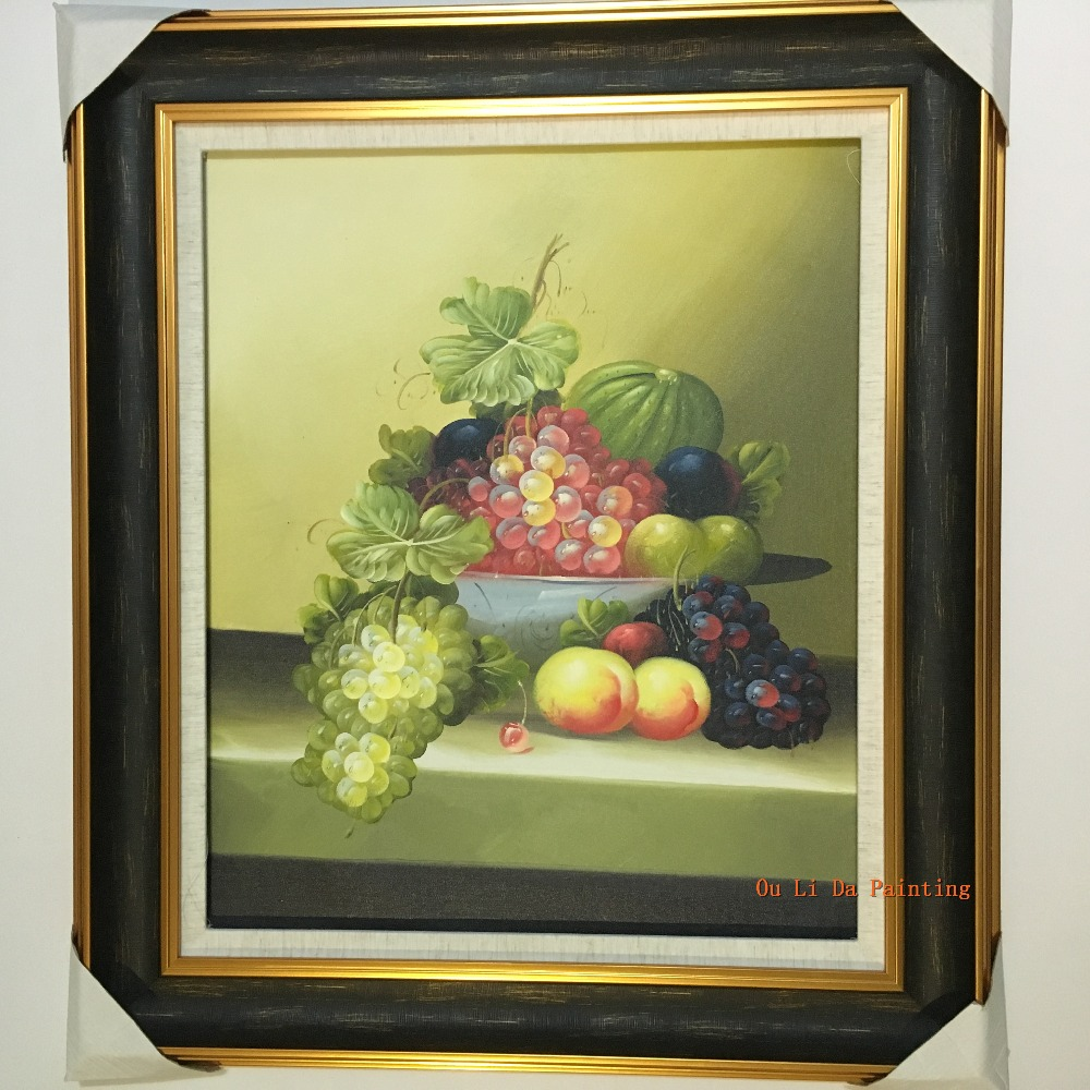 free shipping handpainted oil painting still life grape fruit ...