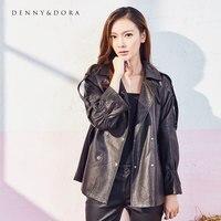Ladies Leather Jackets Turkey Loose Random Casual Black Sheepskin Leather Coat With Suit Collar Lantern Sleeve