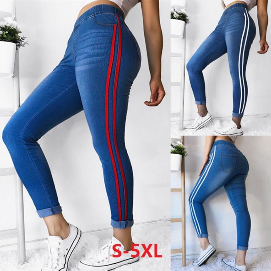 2019 New Striped Jeans Women's Plus Size S-5XL  Elasticity Waist Pencil Pants Trousers Red Stripes Small Stretch Jeans Hot