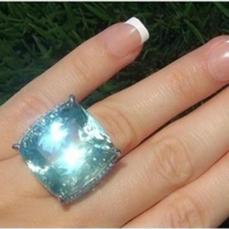 OMHXZJ hurtownia moda europejska kobieta mężczyzna wesele prezent srebrny kwadrat morze niebieski topaz 925 srebrny pierścień RR166
