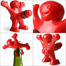hot sale 1Pc Unique Funny Happy red Man Guy Wine bottle Stopper plastic Novelty Bar/home Tools Plug Perky Creative Gifts