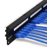 HQ 19''1U UTP 24 port CAT6 5e Patch Panel Cabinet Rack mount Network Distribution Frame RJ45 Cable Adapter modular Keystone Jack