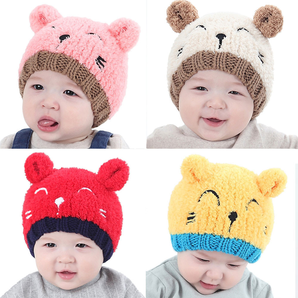 Men's Hats Energetic Winter Hats For Kids Baseball Cap Crown Cotton Baby Korean Hat With Pom Pom Boys Girls Warm Earflaps Stylish Children Thick Caps