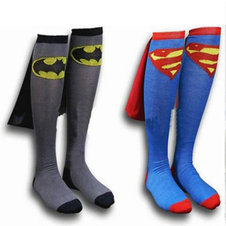 DC Superman Batman The Flash superhero cape design  long Socks cotton party cosplay socks