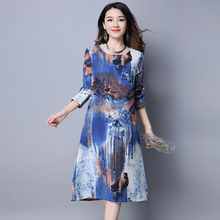 Новое Поступление 2017 Мода Осень Старинные Печати Удобный Хлопок Белье Женщины Свободные Повседневная Длинные Dress Плюс Размер Одежды H383