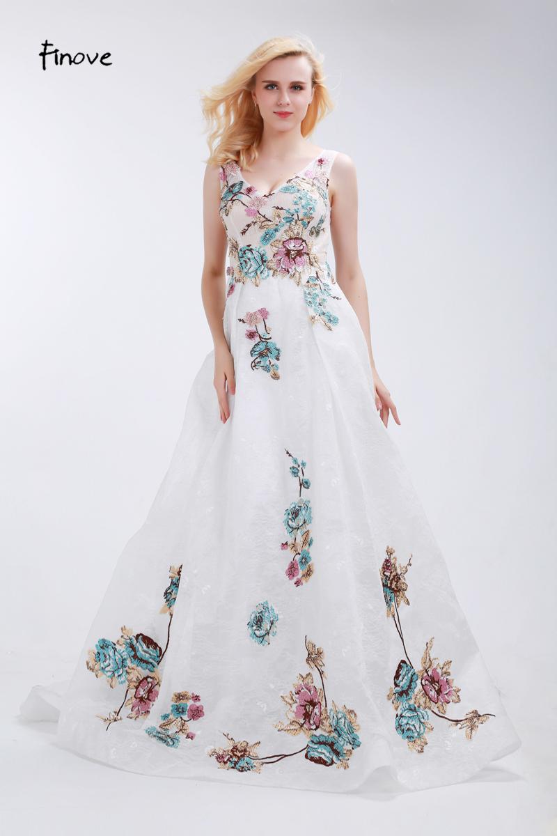 Finove Blumen Appliques Prom Kleider 2018 Neuheiten A linie ...
