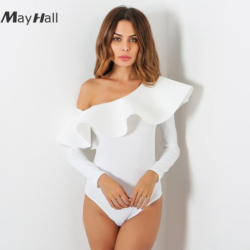 MayHall 2018  Summer New Ruffles Slash Neck Bodysuit Women Long Sleeve One shoulder jumpsuit Rompers 3 colors MH120
