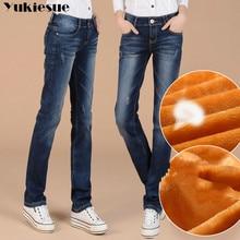 Cộng với Nhung Dày Phụ Nữ Straight Jeans Denim Quần Quần Âu Quần Mới Mùa Đông của Phụ Nữ Quần Áo Quần Ấm Denim Màu Xanh Jeans