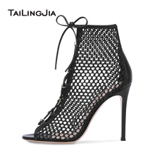 цена Open Peep Toe High Heel Mesh Boots Women Black Heeled Lace Up Ankle Booties Summer Shoes Ladies Heels Sexy Fishnet Sandals 2019 онлайн в 2017 году
