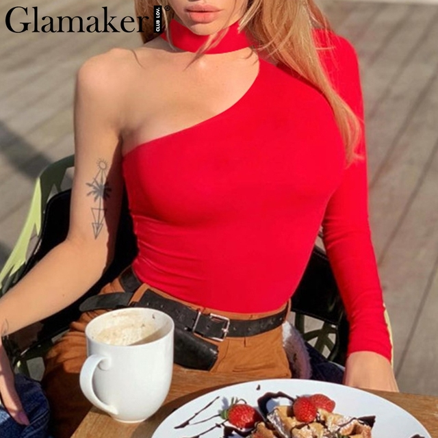 Glamaker Solid one shoulder sexy women bodysuit Black long sleeve spring summer playsuit Party streetwear club female romper new