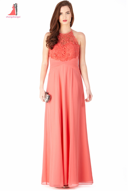 Coral Chiffon Long Prom Gown