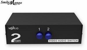 SmileMango Переключатель RCA AV, 2 входа, 1 выход, Селекторный переключатель для аудио и видео, для 2 медиаплееров, DVDs, ТВ-приставок, поделиться 1 телев...