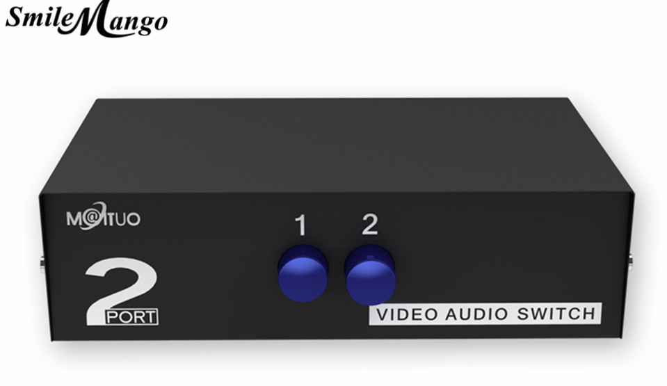 SmileMango MT-VIKI RCA AV Switch 2 Input 1 Output Audio Video Selector MT-231AV for 2 Media Players DVDs TV Boxes Share 1 TV