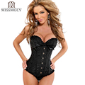 X Women Waist Cincher Corsets Sexy Lingerie Steampunk Corset Overbust Bustier Top Embroidered Corselet With G-String CN US UK