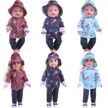 Bonito Padrão Casaco de Chuva Casual 3 Pcs = Chapéu + Casaco + Calça Fit 18 Polegada Americana e 43 CM Acessórios de Roupas de Boneca Baby, Brinquedos para Meninas, Geração 1
