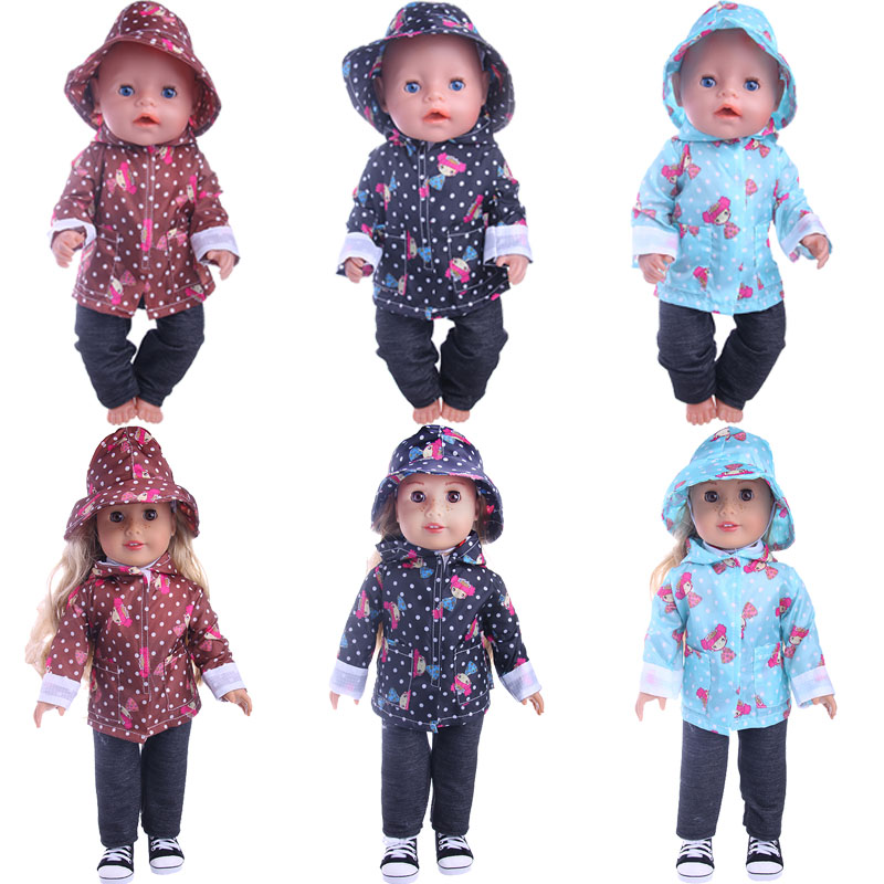 Image 2 - Cute Pattern Casual Raincoat 3Pcs=Hat+Coat+Pants Fit 18 Inch American&43 CM Baby Doll Clothes Accessories,Girl's Toys,Generation-in Dolls Accessories from Toys & Hobbies