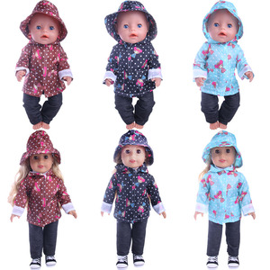 Image 2 - Cute Pattern Casual Raincoat 3Pcs=Hat+Coat+Pants Fit 18 Inch American&43 CM Baby Doll Clothes Accessories,Girls Toys,Generation