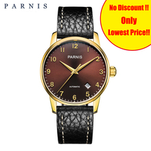 Parnis New 36MM Men Mechanical Watches Genuine Black Leather Strap Sapphire Gold Case Men's Automatic Self-Wind Watch Man Clock купить недорого в Москве