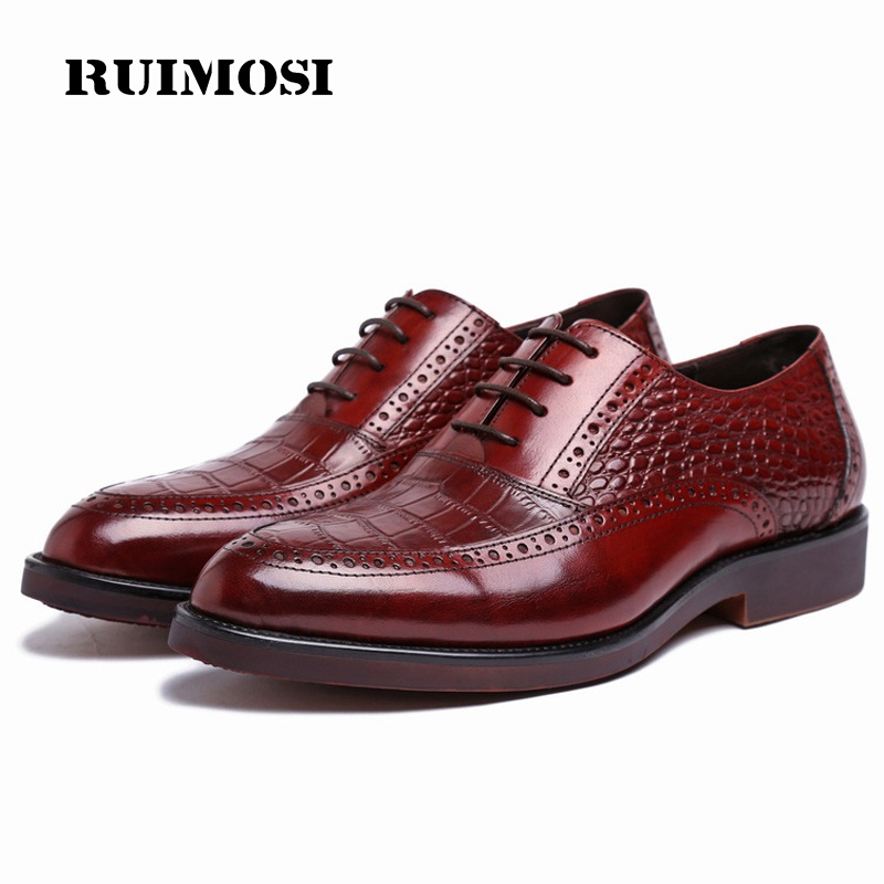 RUIMOSI New Arrival Platform Wing Tip Man Dress Shoes Genuine Leather Brogue Cow Oxfords Round Toe Luxury Brand Men's Flats XE80