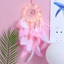 European hand dream catcher with lamp feather pendant wind bell Japanese girl heart gift home pendant lover wedding decoration indian six ring large dream catcher wind bell feather pendant home ornaments birthday gift shop dream bestie lover gift