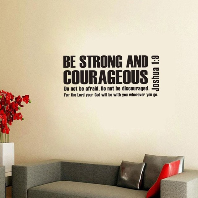 Joshua 1:9 Be Strong And Courageous Bible Verse Scripture Wall Decals Vinyl  Stickers Home