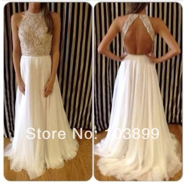 White and cream prom dresses