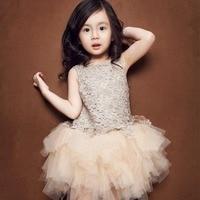 2016 bebés del Verano Sin Mangas de Flores del Rosetón Dorado Brillante Vestido de Fiesta de Baile vestido de princesa Niñas Bebé del tutú 3-8year
