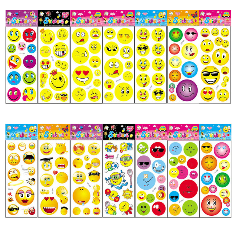 14Pcs No-repeat Cartoon Emoji Sticker Toys for Kids Gift DIY Kindergarten Sticker Smile Face Decoration on Phone Book nativity sticker book