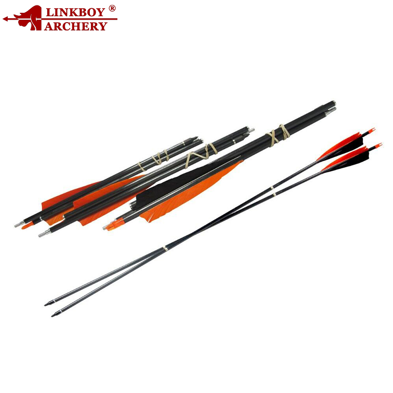 Linkboy Archery 12PCS 3 Take Down SP500 30'' Carbon Arrows 5'' Feather Fletching 100GR Point Compound Bow Hunting Shooting 6 12pcs linkboy archery carbon arrow shaft 32inch 5 turkey feather arrow nock compound recurve bow hunting arrows shooting