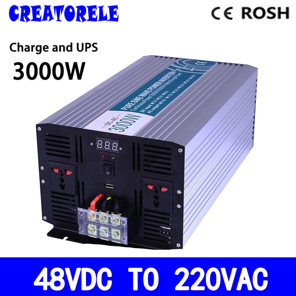 P3000-482-C 3000w UPS power iverter 48v to 220vac Pure Sine Wave soIar iverter voItage converter with charger and UPS p800 481 c pure sine wave 800w soiar iverter off grid ied dispiay iverter dc48v to 110vac with charge and ups