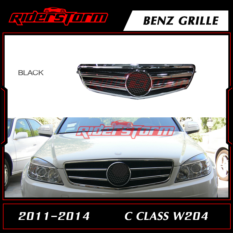 ABS Material Double Slats Design Auto Front Racing Grill Mesh Fit for Mercedes Benz C Class W204 C63 C180 C300 C250 2011-2014 pp class front car mesh grill sport style fit for benz w203 c 2000 2006