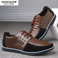 zhengou Men Genuine Leather Shoes High Quality Elastic Band Fashion Design Solid Tenacity Comfortable Mens Big Sizes