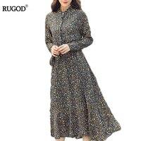 2017 Large Size Women Retro Collar Small Floral Dress Long Sleeved Long Leisurely Elegent Winter Dress