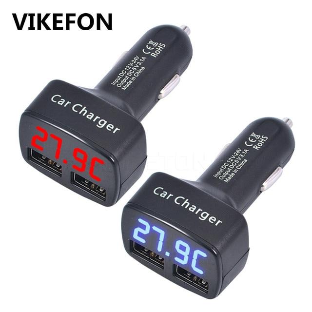 VIKEFON podwójna ładowarka samochodowa USB 5 V 3.1A uniwersalny 4 w 1 z napięcia/temperatury/miernik prądu Tester adapter cyfrowy wyświetlacz LED