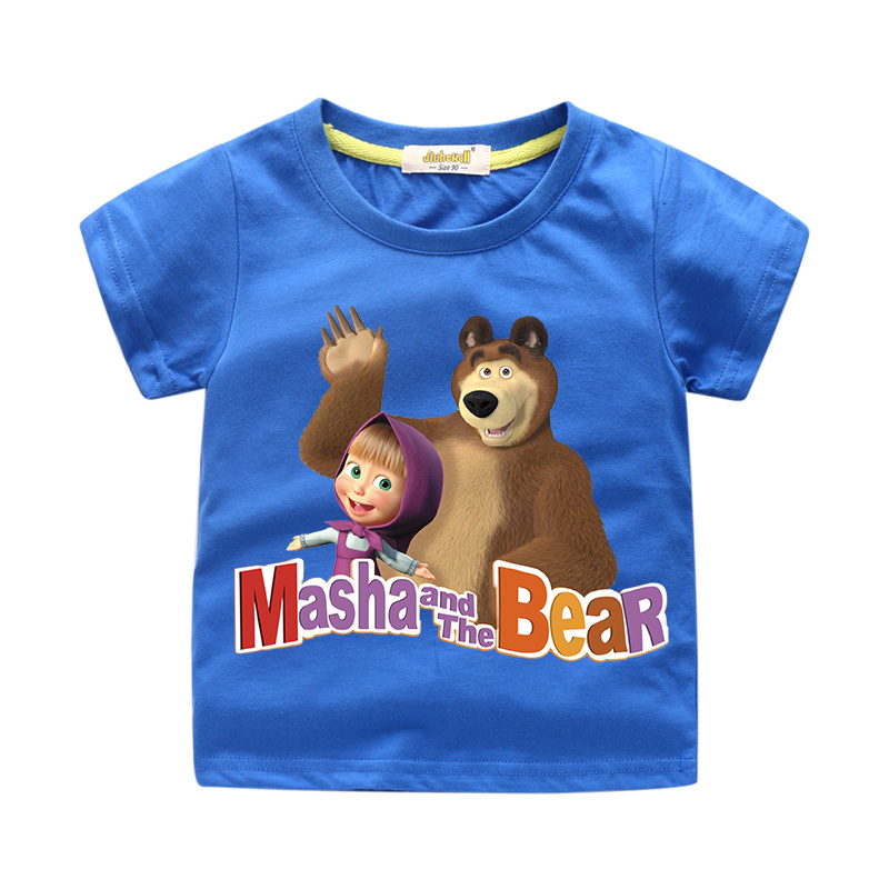 Baby Summer Cotton T-shirt Costume For Children Cartoon Masha and Bear Print Tee Tops Clothing Boy Clothes Girls T Shirt WJ058 peach print tee