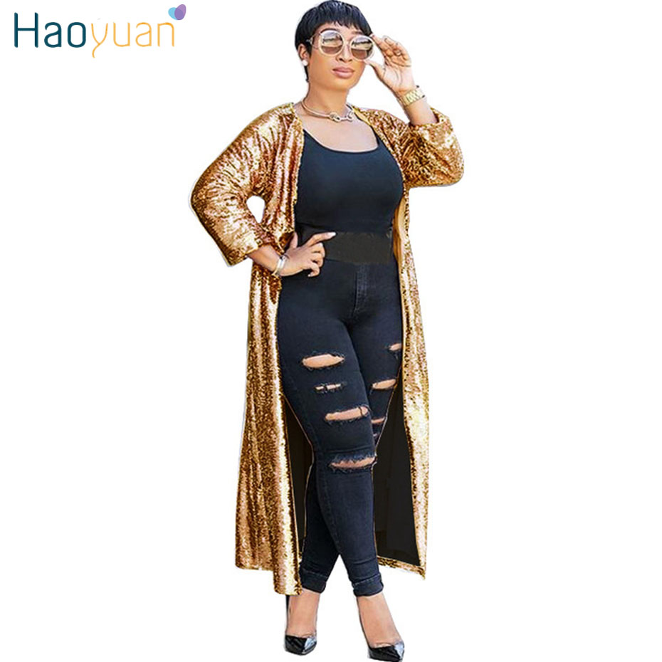 e8430c2ffa8 HAOYUAN Red Gold Pink Cardigan Sequin Jacket Outwear Women Clothes Full  Sleeve Plus Size Open Stitch Elegant Autumn Long Coats-in Basic Jackets  from Women s ...