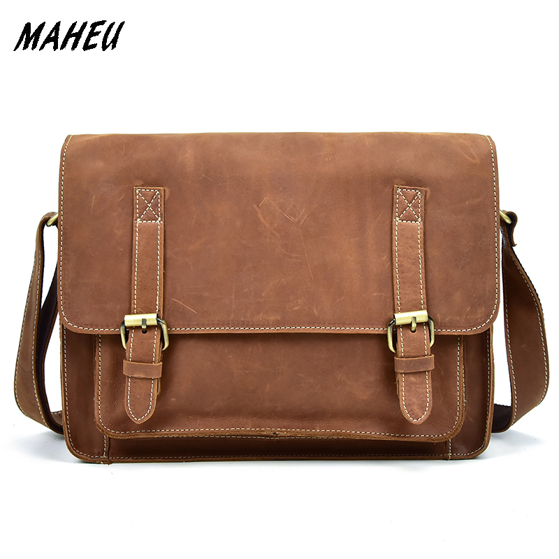High Quality 100% Genuine Leather Messenger Shoulder Bag Men Crazy Horse Leather Crossbody Bag 13 inch Small Travel Bags