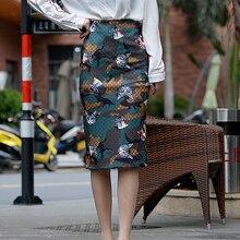 women stylish  pencil skirt faldas mujer UFO cat print Casual mid-calf High Waist Vintage Elegant