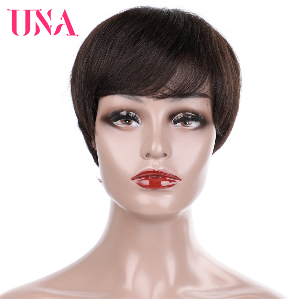 UNA Short Straight Human Hair Wigs Malaysia Human Hair 120% Density Machine Wigs With MONO Net Inside 10 Colors Available