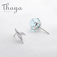 Thaya Mermaid Bubble Studs Earrings s925 Silver Blue Crystal Seaweed Cushion fishtail Earring for Women jewelry Female