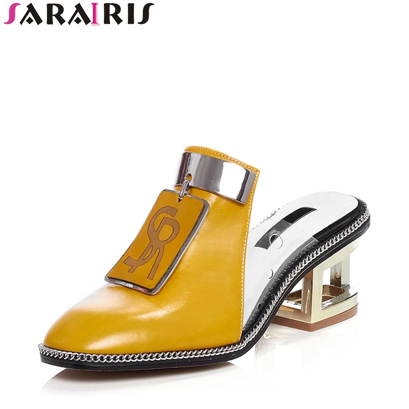 SARAIRIS 2019 Summer New Brand Natural Leather Mules Pumps Metal Decoration Shoes Woman Fretwrok Heels Lady Footwear