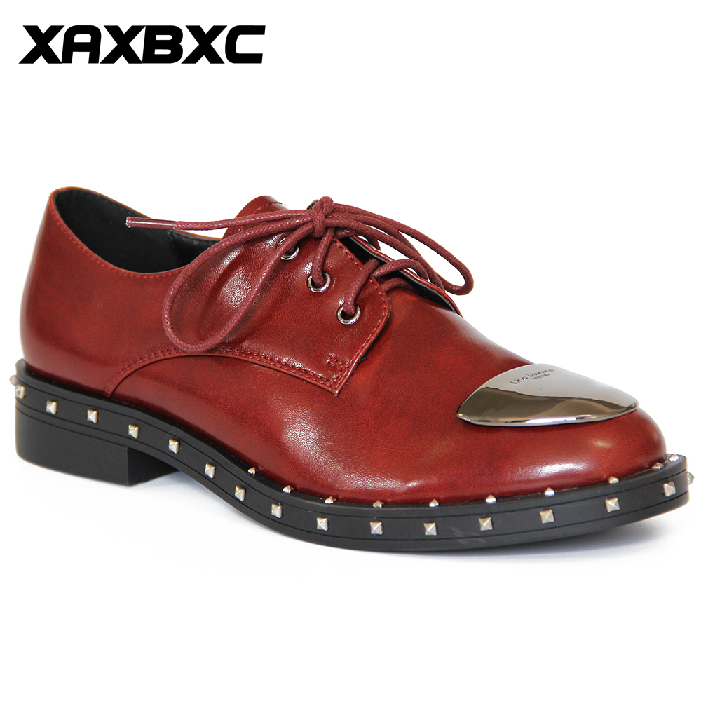 XAXBXC Retro British Style Leather Brogues Oxfords Flat Women Shoes Lace Up Metal Rivet Round Toe Handmade Casual Lady Shoes casual style rivet flat top cap hat for women black
